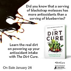 Did you know that a serving of blackstrap molasses has more antioxidants than a serving of blueberries? Learn the real dirt on powering up your antioxidant intake with The Dirt Cure by Maya Shetreat-Klein, MD available January 26, 2016.