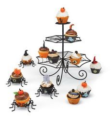Perfect for a spooky Halloween spread, these Spider Cupcake Holders are a creepy way to serve up ghoulish treats – and they double as unique holders for small pumpkins and place cards, too! Powder-coated metal.