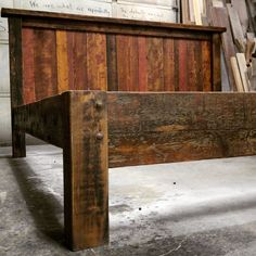 This rustic farmhouse platform bed is a mix of rustic and modern styles. The perfect addition to any home and compliments any style. A solid and well built bed constructed entirely of rustic Montana f Small Woodworking Projects, Woodworking Tools, Farmhouse Living Room Furniture, Rustic Furniture, Antique Furniture, Furniture Design, Industrial Furniture, Luxury Furniture, Colorful Furniture