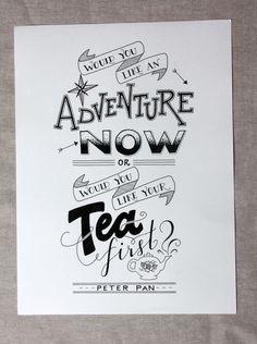 Adventure or Tea? | Zinnia Hand-Lettered Design