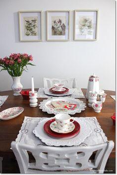 Valentine's Day tablescape idea with vintage teacups in our cottage. Dagmar's Home, DagmarBleasdale.com