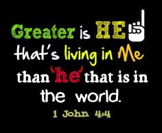 Greater is HE that is living in me than he that is in the world. 1 John 4:4   SHARE THE GOSPEL...and look good doing it: http://​heart4jctees.bigcartel.com/