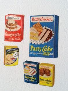 Retro Vintage Kitchen Magnets Mini BETTY CROCKER Cake Mixes Original 50's Ads