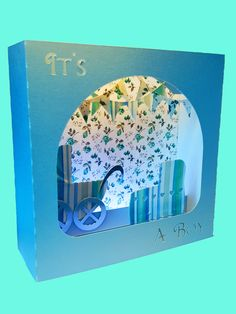 It's A Boy Greetings  box card template by MySVGHUT on Etsy