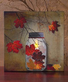 Another great find on #zulily! Autumn Leaves Lighted Canvas #zulilyfinds