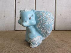 Mid Century Blue Squirrel with Splatter  Paint Finish, Blue Squirrel Planter, Planter, Vintage Planters, Un-marked Squirrel Planter by OpenTwentyFourSeven on Etsy