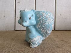 Mid Century Blue Squirrel with Splatter  Paint Finish, Blue Squirrel Planter, Planter, Vintage Planters, Un-marked Squirrel Planter by OpenTwentyFourSeven on Etsy