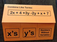This combining like terms foldable notes page helps students prepare for solving multi-step equations. Check out the whole multi-step equations interactive notebook unit in this post! Math Teacher, Teaching Math, Teaching Tools, Real Number System, Simplifying Expressions, Combining Like Terms, Solving Equations, 8th Grade Math, Common Core Math