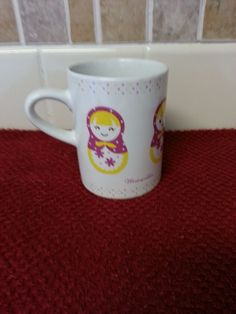 MATRYOSHKA RUSSIAN NESTING DOLL TEA COFFEE CUP MUG PURPLE & YELLOW