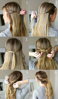 20 semi-formal hairstyles that you can learn and master in less than 10 minutes - new site Oval Face Hairstyles, Ponytail Hairstyles, Girl Hairstyles, Hairstyle Ideas, Simple Hairstyles, Fashion Hairstyles, Hairdos, Wedding Hairstyles, Growing Out Short Hair Styles