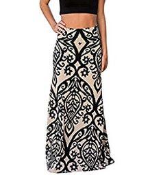 f3bcf1bcab Yinggeli Women's Bohemian Print Long Maxi Skirt at Amazon Women's Clothing  store: