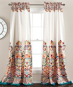 Turquoise & Tangerine Clara Curtain Panel - Set of Two