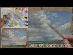Урок по живописи. Как нарисовать кучевое облако маслом - YouTube