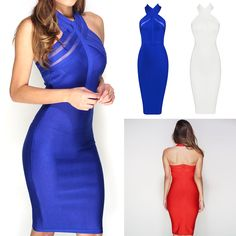 Hot seller  Sleeveless Backless Sexy Bandage Dress - Available in Royal blue, White or Red