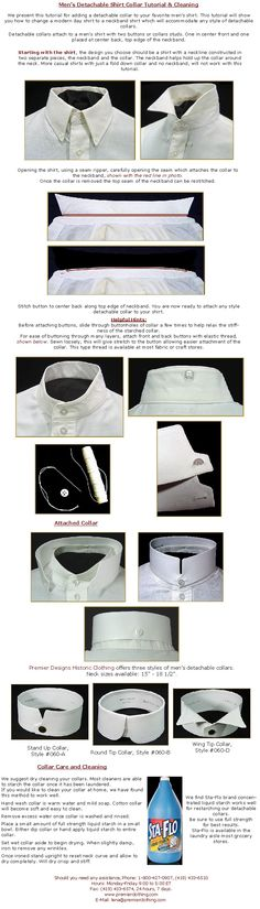 35-Men's Detachable Collar Tutorial--how to add a stand-up Edwardian collar to your favorite modern shirt