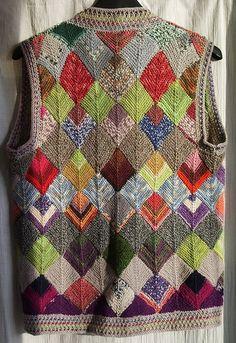 u-wind& Patchwork Weste - Ravelry: U-Wind & # s Patchwork Weste - Crochet Yarn, Knitting Yarn, Hand Knitting, Sweater Knitting Patterns, Knit Patterns, Ravelry, Granny Square Sweater, Mitered Square, Sock Yarn