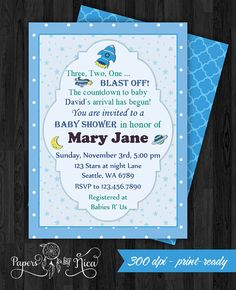Space Baby Shower Invitation Space Rocket Shower  by PapersbyNica