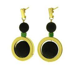 orecchini in oro giallo e polvere di lava, con particolari in turchese verde.