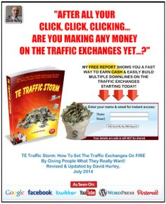 Here is one of my squeeze pages, made using AdKreator. The squeeze page invites visitors to download a free ebook about how to make money on Traffic Exchanges.  Click the image to read the article on my blog.