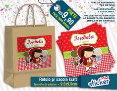 Rótulo Sacola Kraft - Chapeuzinho Vermelho | Print Sticker | Elo7