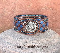 Blue Beaded Leather Cuff Wrap Bracelet - The Queen of Diamonds in Blue Suede - Custom size it! by BarbSmithDesigns on Etsy Bracelets Wrap En Cuir, Beaded Wrap Bracelets, Beaded Jewelry, Cuff Bracelets, Beaded Leather Wraps, Leather Cuffs, Leather Jewelry, Leather Cord, Diy Jewelry To Sell