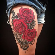 Red Rose, Pearl and Lace Thigh Tattoo by Colby Morton @ Working Class Tattoo in Kansas City, MO Lace Rose Tattoos, Lace Thigh Tattoos, Black Lace Tattoo, Rose Tattoo Thigh, Tattoos For Women Flowers, Leg Tattoos, Body Art Tattoos, Sleeve Tattoos, Leopard Print Tattoos