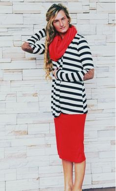 Womens modest long sleeve striped open cardigan with patched elbow, worn with mid-length pencil skirt and solid infinity scarf #pentecostalfashion #apostolicfashion #modestclothing #modestfashion