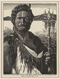 Artists of this time often made Maori look comical and quirky, so this ones pretty dam good! 1930-1939    Half-length portrait of Hongi Hika, shown with full facial moko, in a flax cloak, holding a musket. Behind him is a sailing ship, probably in the Bay of Islands, where Hongi came from.    Hongi's iwi, Ngapuhi, was a large northern tribe, not a small one. By: Goodwin, Arnold Frederick, 1890-1978  http://www.hakashows.com/