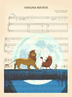Lion King Simba Timon and Pumba Hakuna Matata Sheet Music Art Print Deco Disney, Disney Nerd, Disney Fanatic, Arte Disney, Disney Love, Disney Pixar, Disney Princess, Disney Sheet Music, Sheet Music Art
