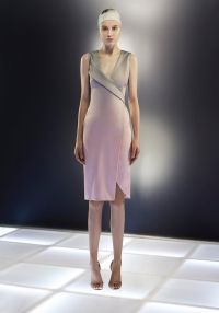 Look 26 - BLUSH AND STONE OMBRE DRAPED VISCOSE CREPE COCKTAIL.