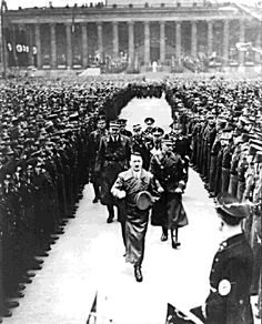 Hitler reviews 35,000 SA troops who came to Berlin to celebrate the third anniversary of Hitler's chancellorship on February 20, 1936.