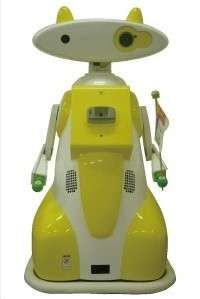 Robotic Babysitters---What will they think of next? The 1.4-meter tall robot with a colorful yellow / white outfit features an integrated projector and camera.  The projector, which is installed in one of its eyes, beams advertising messages and can be used to show pictures that were captured with a camera installed in the other eye. It is able to identify children by name using a special tag that each kid wears while playing and chats with them according to their age.