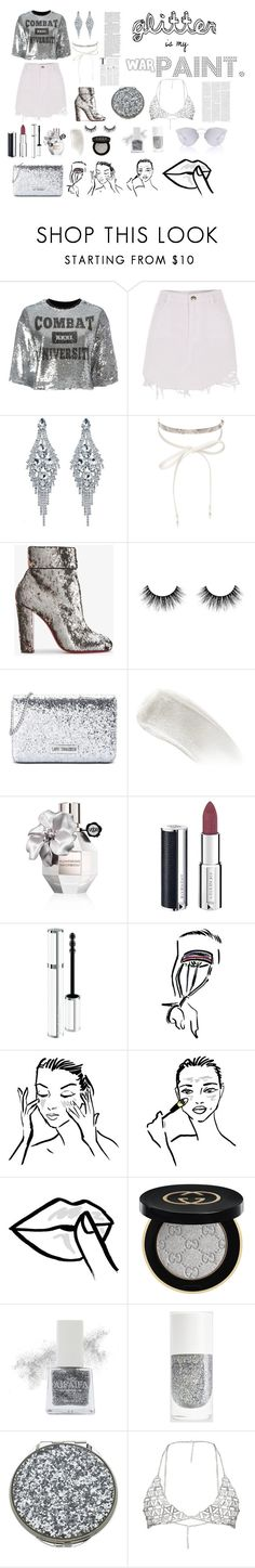 """Glitter Is My War Paint"" by tori-noah on Polyvore featuring MSGM, River Island, nOir, Christian Louboutin, Love Moschino, BBrowBar, Viktor & Rolf, Givenchy, HUISHAN ZHANG and Gucci"