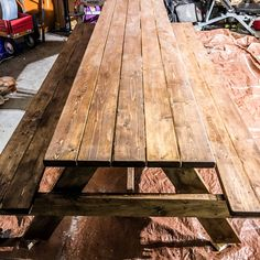 How to DIY finish / refinish a picnic outdoor table for a backyard using wood stain, exterior paint, polyurethane & orbital sander. Step by step tutorial. tables redo How to DIY Finish an Outdoor Picnic Table by MyOutdoorPlans - Building Our Rez Painted Picnic Tables, Diy Picnic Table, Picnic Table Plans, Outdoor Picnic Tables, Indoor Picnic, Backyard Picnic, A Table, Painting Outdoor Wood Furniture, Used Outdoor Furniture