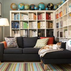 i like the idea of putting shelves behind the couch...it would be great for movies, video games, and board games!