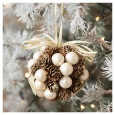 Pine Cone and Pearl Christmas Tree Decoration