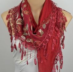 ON SALE Red Scarf  Cotton Scarf  Fringed Scarf  by LIFEPARTNER, $16.50