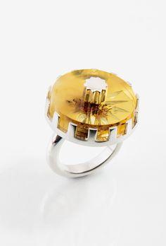 Stella Polaris Ring // Silver, amber #jewellery #silver #melancholia #signet #ring #amber