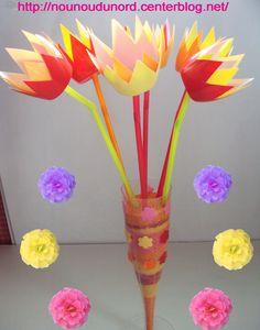 Tulipes de printemps réalisées avec des petits suisses