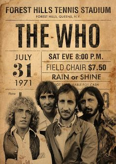 The Who - Concert Poster Vintage Concert Posters, Posters Vintage, Rock Posters, Band Posters, Pop Rock, Rock N Roll, Cover Art, Greatest Rock Bands, British Rock