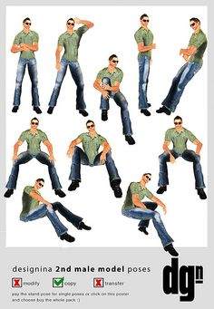 Standing and Sitting positions for male poses