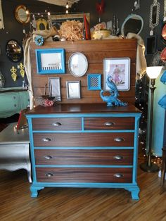 """Mahogany Dresser, Chest of Drawers This one is husband approved because of all the gorgeous woodwork on the top and drawer fronts. The case is painted in my favorite shade of turquoise, Petrol and new tarnished silver cup pulls give it a more contemporary look. Measures 44x20, 36"""" tall. $285. Modern Vintage"""