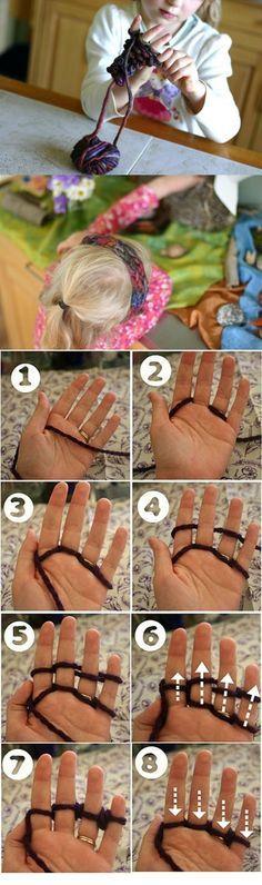 Finger knitting by lupita m