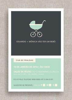 Convite Digital Chá de Fraldas 25 Convite Chá de Bebê, tema moderno, diferente, simples, elegante. Baby shower invite, modern theme.