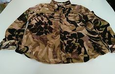 Calvin Klein Brown Print Satin Button Front Tab Sleeve Top Blouse Size Large L