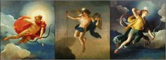 Three paintings showing three deities of Greek mythology as personifications of the times of the day. From left to right: Helios (or sun god Apollo) personifying Day, Eos (or Hesperos) embodying Dawn, and Selene (or Diana, Luna) personifying Night or the Moon.