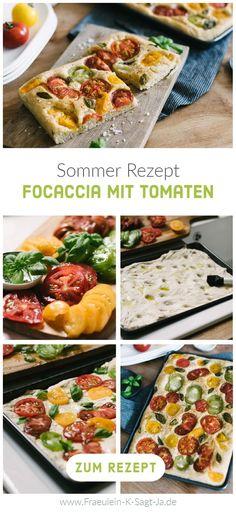 Wir machen uns den Sommer! Mit der leckeren Focaccia mit Tomaten holen wir uns Gartenparty-Atmosphäre in den Mai! Das Sommerrezept ist das Highlight am lauen Sommerabend – egal ob im kleinen Kreis oder in der großen Runde. Sag Ja, Summer Evening, Delicious Dishes, Garden Parties, Tomatoes