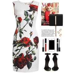 Rose print dress by yexyka on Polyvore featuring Isabel Marant, Moschino, Christian Dior, Tom Ford and CO