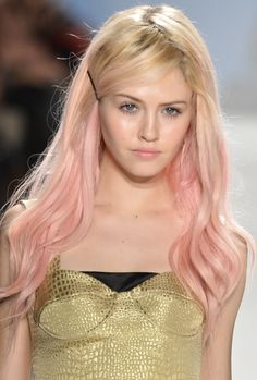 When i saw this, i instantly thought mermaid:) the gold top or dress is shimmery and pairs great with the pale pink hair- Pink Tartan Charlotte Free Spring 2013 makeup backstage beauty.