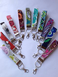 Vera Bradley Fabric Key fob Wristlet Key Chain Zipper by Pedalgirl... Works great for work keys!!